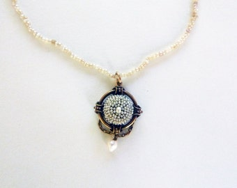 Victorian seed pearl pendant necklace 14 k yellow gold pendant 1800s
