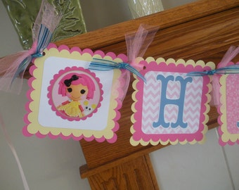 Special Price Lalaloopsy Banner, Lalaloopsy Birthday Banner, Lalaloopsy Party Decorations, Photo Prop Matching Tissue Pom  Available