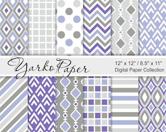 Purple And Grey Digital Paper Pack, Gray, Chevron, Polka Dot, Stripes, Geometric Paper, Digital Background, 12 Sheets - Instant Download