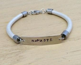 Namaste Bracelet, Yoga Bracelet, Leather Bracelet, Inspirational Bracelet, Yoga Teacher Gift, Gift For Her, Bar Bracelet, Yoga Jewelry