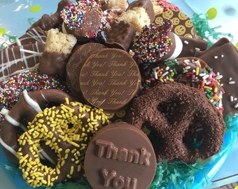 Thank You Chocolate Platter - Chocolate Covered Pretzels - Chocolate Covered Oreo - Chocolate Gift - Foodie Gift - Chocolate Covered Graham