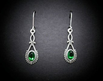 Silver Earrings Emerald Glass Rhinestones Antiqued Silver FREE SHIPPING USA