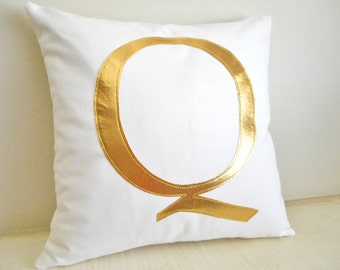 Gold Monogram Pillow Cover - Metallic Pillow - Initial pillow - Decorative Pillow - Gold Letter - Personalized - Birthday or Wedding Gift