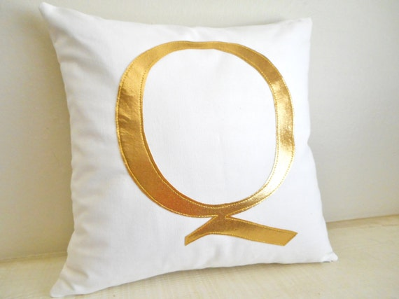 Gold Monogram Pillow - Cover - Metallic Pillow - Initial pillow - Decorative Pillow - Gold Letter - Personalized / Birthday or Wedding Gift