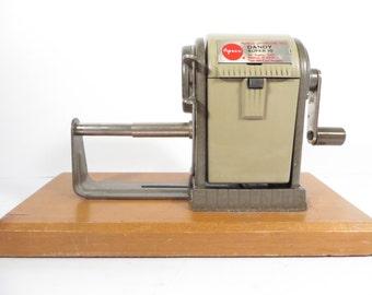 Mid Century Apsco Dandy Super 10 Pencil Sharpener -  Vintage Apsco Metal Pencil Sharpener