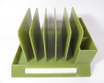 Vintage Green Max Klein DESK Organizer - Avocado Green Plastic Desk Caddy