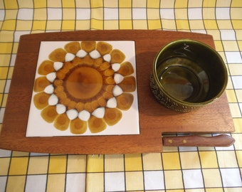 Retro 1960s Wooden Cheeseboard With Original Alan Wallwork Ceramic Tile