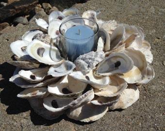 Oyster Shell Wreath With Candle - Nautical Centerpiece (OS005)