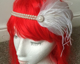 1920s Feather and Pearl Ivory Flapper Headband