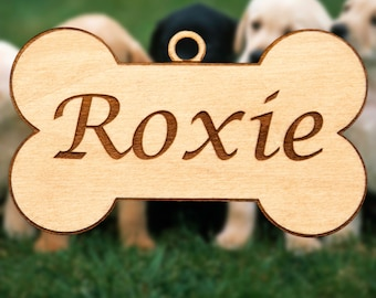 Personalized Wooden Dog Bone Christmas Ornament