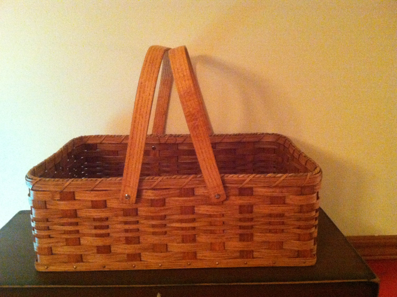 Handmade Market Baskets : Handmade amish reed large market basket in by