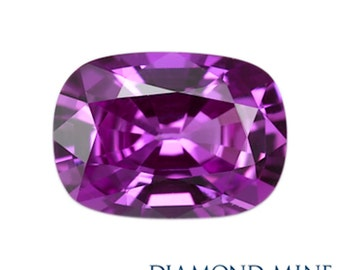 A Beautiful NaturalSapphire 1.36 Purple Cushion Extra