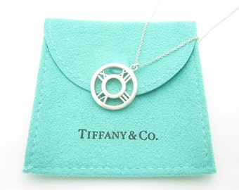 Tiffany & Co. Sterling Silver Atlas Roman Numerals Round Medallion Pendant Necklace 16""