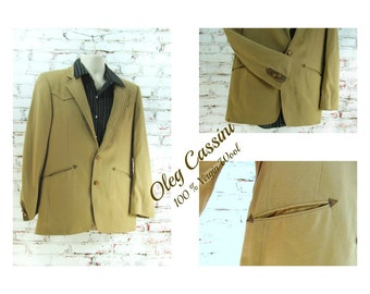 western sport coat - men's tan wool jacket - men;s tan jacket -  men's Sport coat, men's blazer ,   #  177