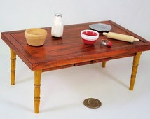 "Cherry finish kitchen work table, hand turned ""oak"" legs. 1 to 12 scale. Handmade USA."