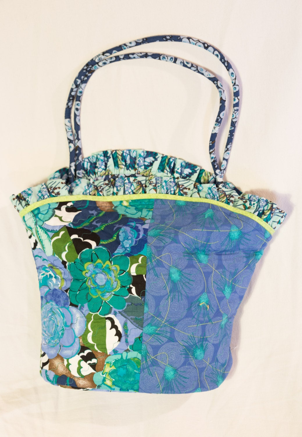 Blue Floral Quilted Tote Bag By TheSewingClass On Etsy
