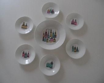 Melitta,Melitta Jupp Ernst,Melitta porcelain,bowls set,confectionery bowls,confectionery bowls set,porcelain bowls,dessert bowl,bowls set