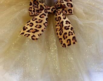 Gold glitter tutu with leopard bow, gold tutu, leopard tutu, glitter tutu, gold glitter tutu, baby tutu, animal print tutu, leopard baby