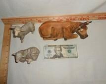 "Large 7"" Cow Lamb 4"" Sheep Christmas Nativity Set Porcelain Figurines"