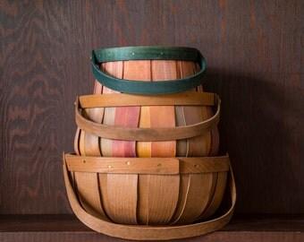 Bent Wood Harvest Basket Collection of Three (3) Harvest Basket Instant Collection Rustic Primitive Baskets