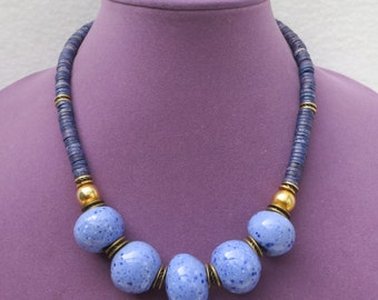 Statement Blue Necklace with Five Large Blue Spotted Ceramic Beads