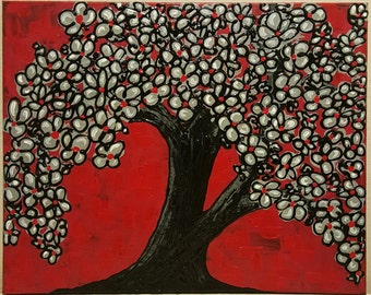 Acrylic Tree Painting, Tree Blossom painting, red tree painting, acrylic painting, tree home decor, Tree wall decor, acrylic painting