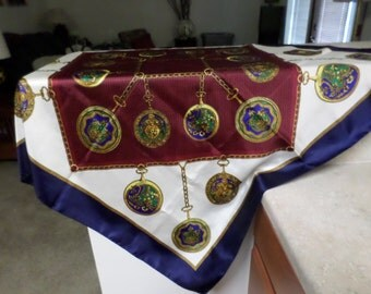 Vintage Scarf 1970's Medallions Maroon, White and Blue, Gold