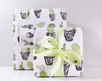 Cacti Wrapping Paper – Cactus Giftwrap – houseplant gift wrap – cacti gift wrap – cactus recycled wrapping paper – succulent gift wrap