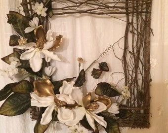 Magnolia square twig wreath, Southern flower wreath, twigs, grapevine square, grapevine, white flower  wreath,front door, wall decor
