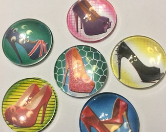 High heel shoe glass magnets.  Set of six one inch round glass magnets in a variety of colorful fabulous shoe designs