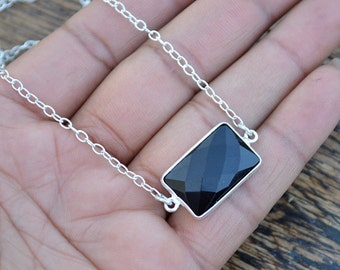 Black Onyx Necklace, 925 Sterling Silver Layering Necklace, Gemstone Chain Necklace, Onyx Jewelry, December Birthstone Love Gift Jewelry