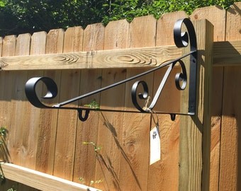 "Sign hanger Large 28"" Wrought Iron Hanger Outdoor Wooden Carved Sign Display Metal Sign Wall Bracket Handmade in the USA Scroll Sign Bracket"
