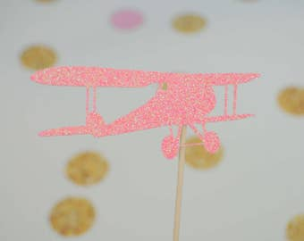 Pink Airplane cupcake toppers, airplane cupcake toppers, girl airplane cupcake toppers