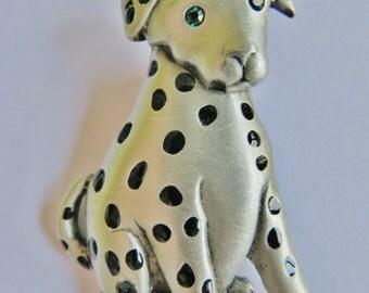 JJ Jonette Pewter Dalmation Puppy Dog With Rhinestone Eyes Brooch Pin