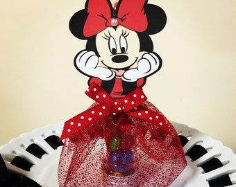 Minnie Mouse Candy Tube Party Favors - SET OF 12. Heavy acrylic tubes with metal lids, Minnie Mouse party favors
