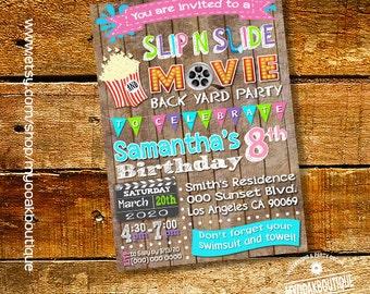 Movie slip n slide party invitation pool birthday bash invite girl outdoor movie wood digital printable invitation you print invite 14277