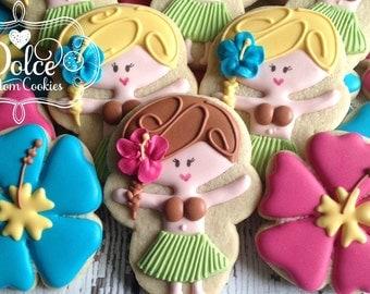 Luau Hawaiian Hula Girl Hibiscus Birthday First Birthday Cookies