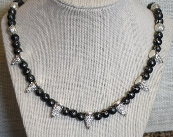 Black and Silver Beaded Glass Filigree Rhinestone Spikes Necklace