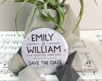 Wedding Save The Date Magnets Modern Concrete Inspired Design Complete With Organza Bags 59mm