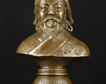 Tibetan Bronze Cast Genghis Khan Bust Artifact