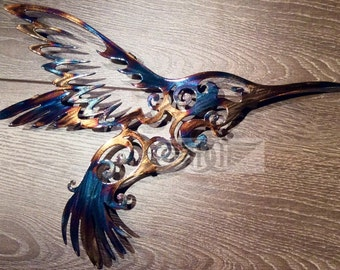 11th Anniversary (Heated Steel) Hummingbird Metal Wall Art Metal Wall Sculpture