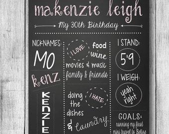 Adult Chalkboard Birthday Sign - 30th Birthday Sign - 40th Birthday sign - 16x20