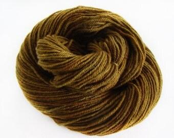 Dark Olive Green, Hand Dyed Yarn, Targhee Wool, Worsted Weight Yarn, Hand Painted Wool, Olive Green Yarn, Hand Dyed Wool, Oopsie Skein Wool