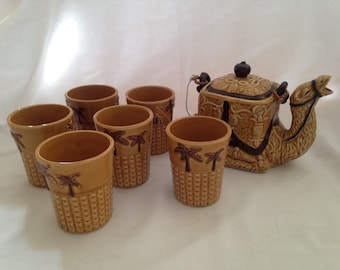 Vintage 1940s Occupied Japan Ceramic Camel Tea Set Teapot Teacups