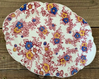 Vintage Taylor Smith Taylor Red Blue and Yellow Floral Transferware Platter