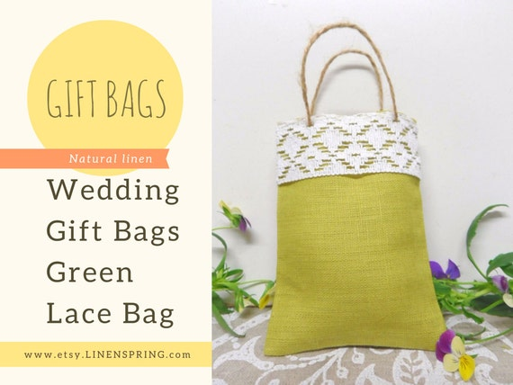 to Linen lace bags. Wedding favor bags. Green candy bags. Jewelry bag ...