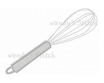kitchen whisk applique machine embroidery design instant download