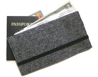 Travel Wallet Tweed Passport Wallet, Mens Travel Document Holder, Gray Herringbone Passport Boarding Pass Holder, Men's Travel Gift