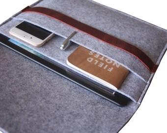 Macbook Air Sleeve Case, iPad pro Covers, Dark Gray 100% Wool Felt MacBook Pro Covers, Custom Tablet Felt Bags
