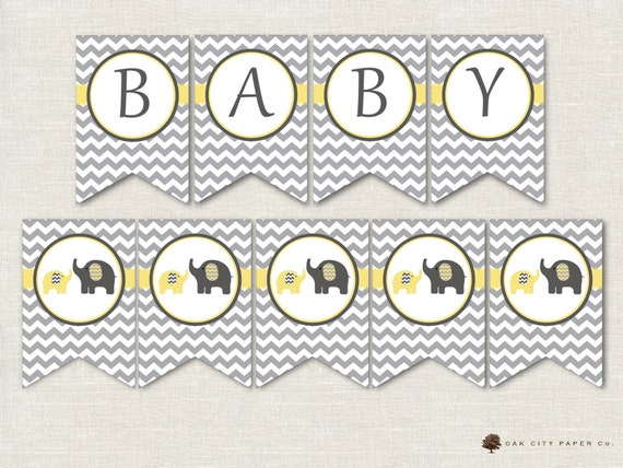 Yellow And Grey Elephant Baby Shower Decorations, Yellow And Gray Elephant  Flag, Yellow And Grey Elephant Baby Shower Banner, Gender Neutral